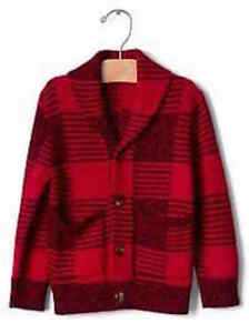 Baby Gap Boy/'s Red Buffalo Plaid Cardigan Sweater Size 2T 4T