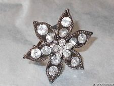 DARK GUN METAL CLEAR RHINESTONE FLOWER ADJUSTABLE DRESS RING