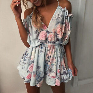 a37713570f20 Image is loading Womens-Strappy-Backless-Ruffle-Frill-Playsuit-Jumpsuit-V-