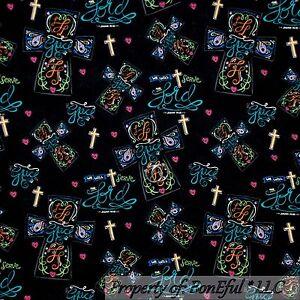 Boneful Fabric Fq Cotton Quilt Cross Religious God Jesus