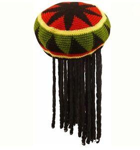 Adulto Giamaicano Rasta Cappello Parrucca con treccine rastaoppure Bob Marley Caraibi Fancy Dress