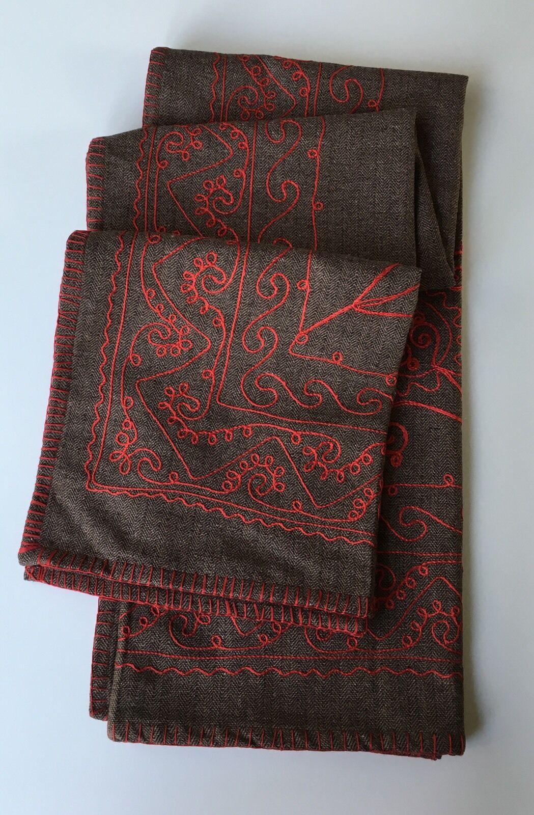 Wisteria brown & grey herringbone blanket w  red embroidery & silky satin lining