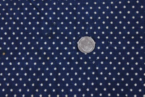 "Antique American Resist Print Star Indigo Cotton Quilted 11 3//4/""Square~c1850-60"
