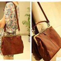 Damen Retro Vintage Leder Tasche Damentasche Umhängetasche Handtasche BAG