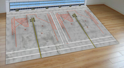 1//200 SCALE MODEL AIRPORT LAYOUT WIDEBODY PARKING SLOTS WITH BACK SCENE