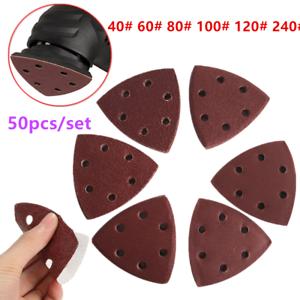50pcs 6 Holes Triangle Sanding Disc Set Pads 40//60//80//120//180//240 Grit Sandpaper