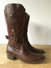 DESTROY GIRLS BROWN LEATHER KNEE HIGH COWBOY STYLE BOOTS EUR34