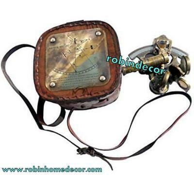 Best Christmas Gift Antique New Brass Nautical Sextant With Leather Box 100% Guarantee Maritime