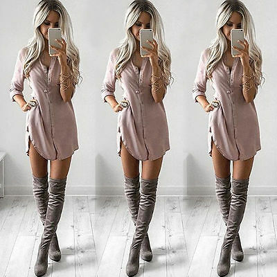 Fashion Womens Ladies Casual T Shirt Long Sleeve Shirt Loose Blouse Tops Dress