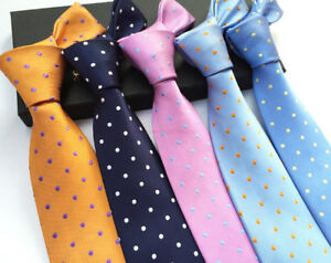 New-Classic-Polka-Dot-of-25-Color-Jacquard-Woven-Silk-Men-039-s-100-Tie-Necktie