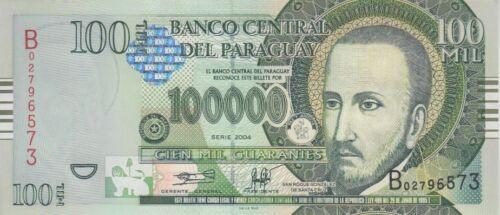 UNC PARAGUAY BANKNOTE P226   100000 100.000 100,000 GUARANIES 2004