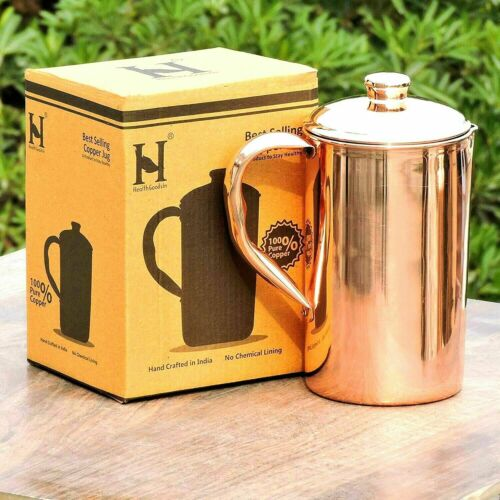 Copper Water Jug Pitcher Pot Handmade For Drinking Water Health Benefits 1700ml