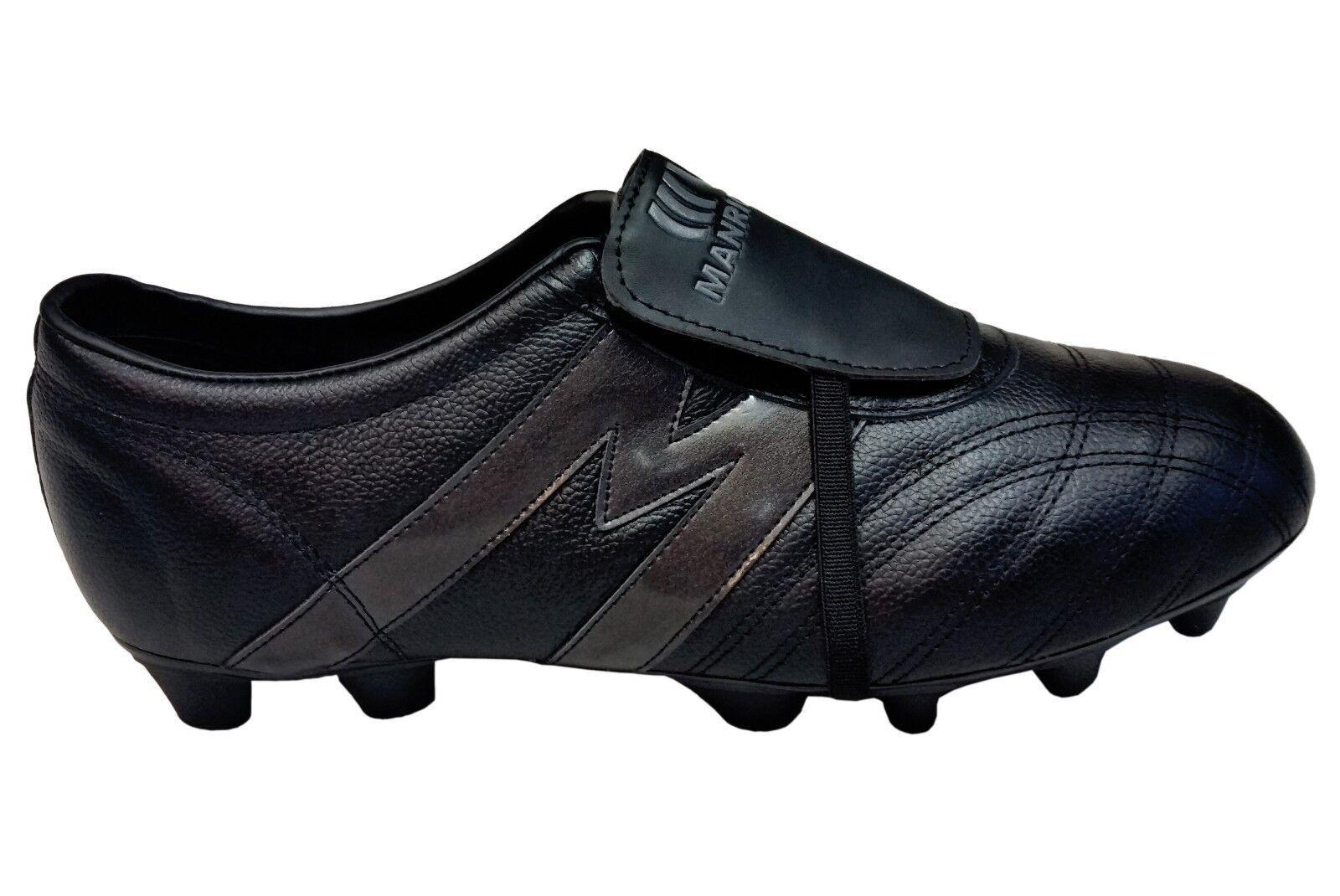 Botines de fútbol Manriquez Mid Sx total de Cuero Genuino Negro