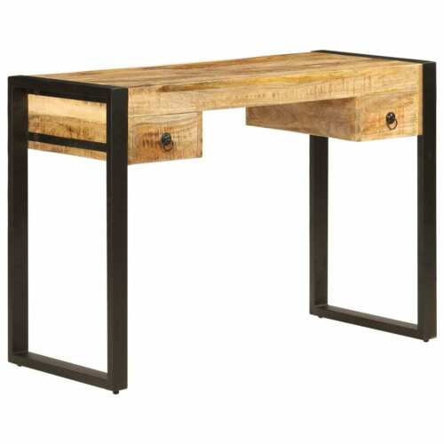 """vidaXL Solid Mango Wood Desk with 2 Drawers 43.3/"""" Work Study Console Table"""