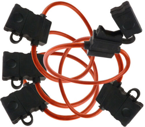 5 PACK 10 GAUGE ATC FUSE HOLDER IN-LINE AWG WIRE COPPER 12 VOLT POWER BLADE