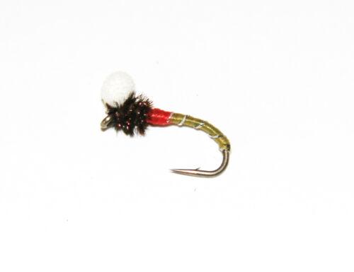 Emerger Buzzers Lièvres Oreille Noir-vert-rouge-Choix Taille Quantité Poly bead fly
