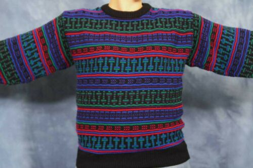 VTG 80s 90s Colorful Sweater Black Blue Red Green Geometric Retro Pixel Party