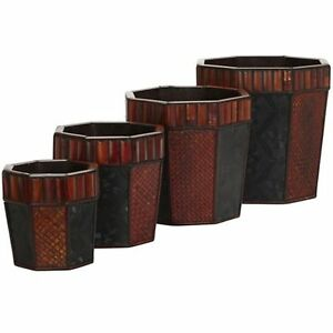 Plants Floral Decorative Natural Looking Artificial Bamboo Octagon Planters 4