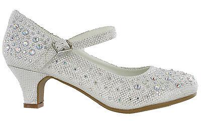 Diamante Brillo Boda Fiesta Zapatos Bridesmaids niños niñas Mary Jane Tacón Bajo