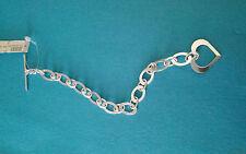 """Dobbs Boston Fine Sterling Silver 925 Link Heart Bracelet 8 1/4"""" Italy"""