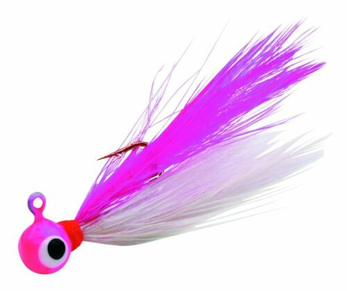 2 Pack Fire Fly Jig Pink White Size #12 1//64