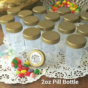 18 JARS 2oz 60ml Plastic Pill Bottle Container Gold Caps Favor #4314 DecoJars US
