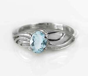 Blue-Aquamarine-925-Sterling-Silver-Ring-Natural-Solitaire-Size-4-11