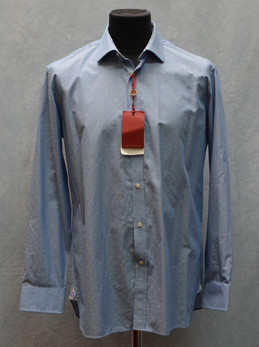 A5  NWT TED BAKER Endurance Blau Dot Cotton Long Sleeve Shirt Größe 34 35    120