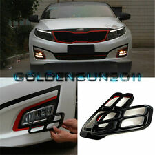 Glossy Piano Black Quad Eye Fog Lamp Vent Bezel Cover For Kia K5 Optima 2014-15