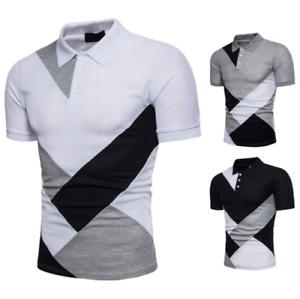 Fashion-Men-Slim-Fit-POLO-Shirts-Short-Sleeve-Casual-Plain-T-shirt-Tees-Tops