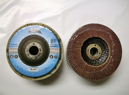 """80 OR 120 Grit AO 60 40 4/"""" Flap Disc Type 27 Professional Lot of 100"""