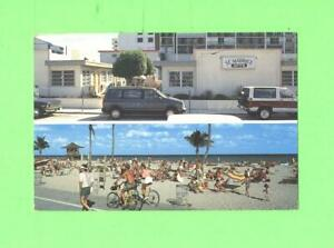 R-POSTCARD-ST-MAURICE-APARTMENTS-INC-HOLLYWOOD-BEACH-FLORIDA-BICYCLE-RIDE-amp-CAR