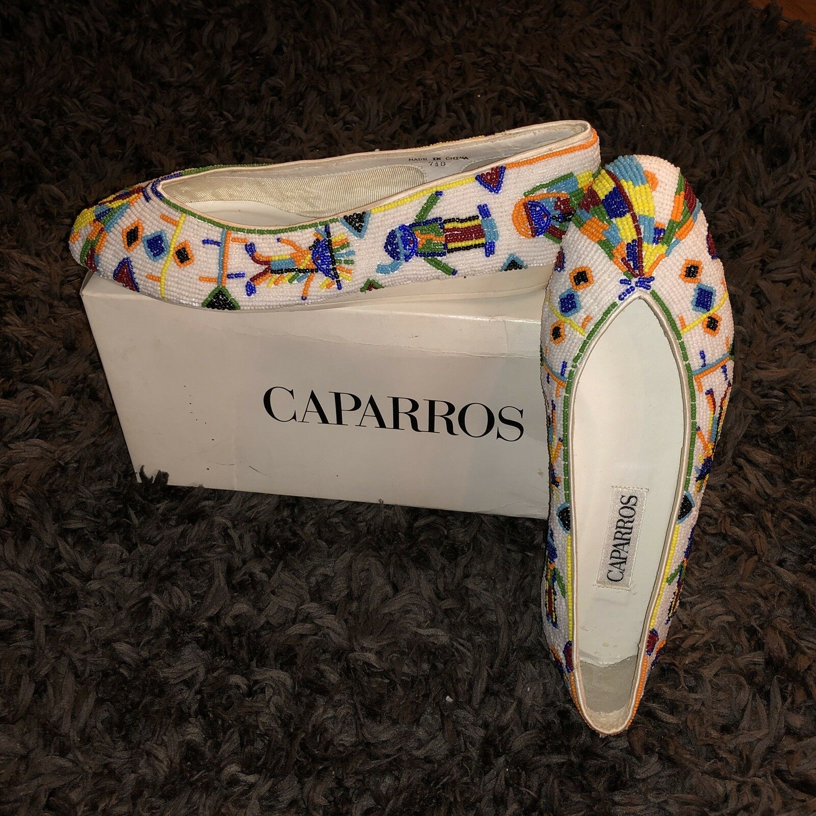 CAPARROS White Beaded Flats Sz NEW 7.5 NEW Sz VTG Colorful Beads Aztec Shoes Embroidery 509e28