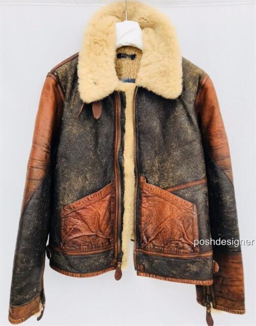 Polo Ralph lauren Brown shearling aviator jacket Coat M-L RRP2200GBP New