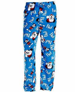 Mens-Mickey-Mouse-Christmas-Ho-Ho-Ho-Microfleece-Lounge-Pajama-Pants-Size-S-M