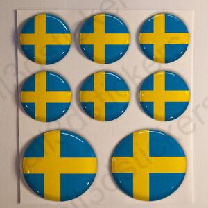 Pegatinas-Suecia-Pegatina-Bandera-Suecia-Redondas-3D-Vinilo-Adhesivo-Relieve