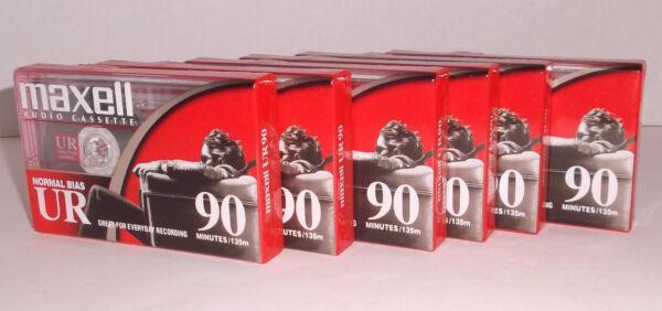 Populair Merk Lot Of 6 Maxell Audio Cassettes Ur 90 New & Sealed Normal Bias 2019 Nieuwste Stijl Online Verkoop 50%