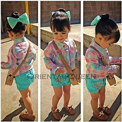 Baby Toddler Children Girls Clothes New Plaid Shirt+Shorts+Headwear Sets Outfits