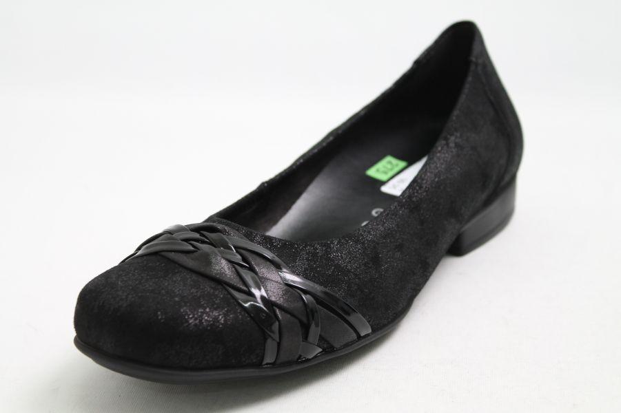 Gabor Ballerinas schwarz Nubuk Leder Wechselfußbett Schuhweite G