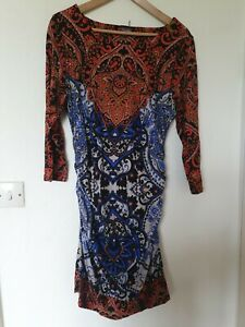Phase-Eight-Wiggle-rounched-Retro-Paisley-Abstracto-Estampado-Vestido-Talla-16