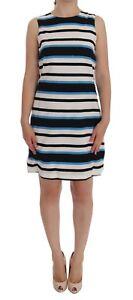a24ac2e7 NEW $1900 DOLCE & GABBANA Dress Blue White Striped Silk Stretch ...