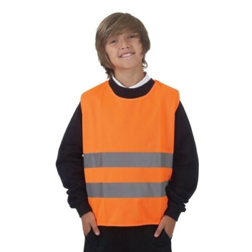 Childs Kids Hiviz Reflective High Visibility Orange Tabard Vest in 3 sizes