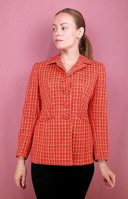 Disinteressato True Vintage Giacca Donna Citypress Lana Vergine 60s Blazer A Quadri Checkered 60er-mostra Il Titolo Originale