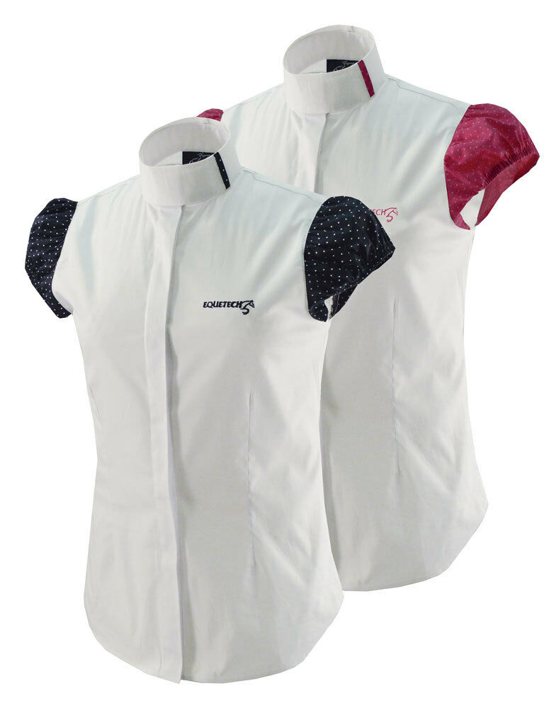 Equetech Ladies Dotty Horse Riding Competition Shirt - White Navy or Pink Spot