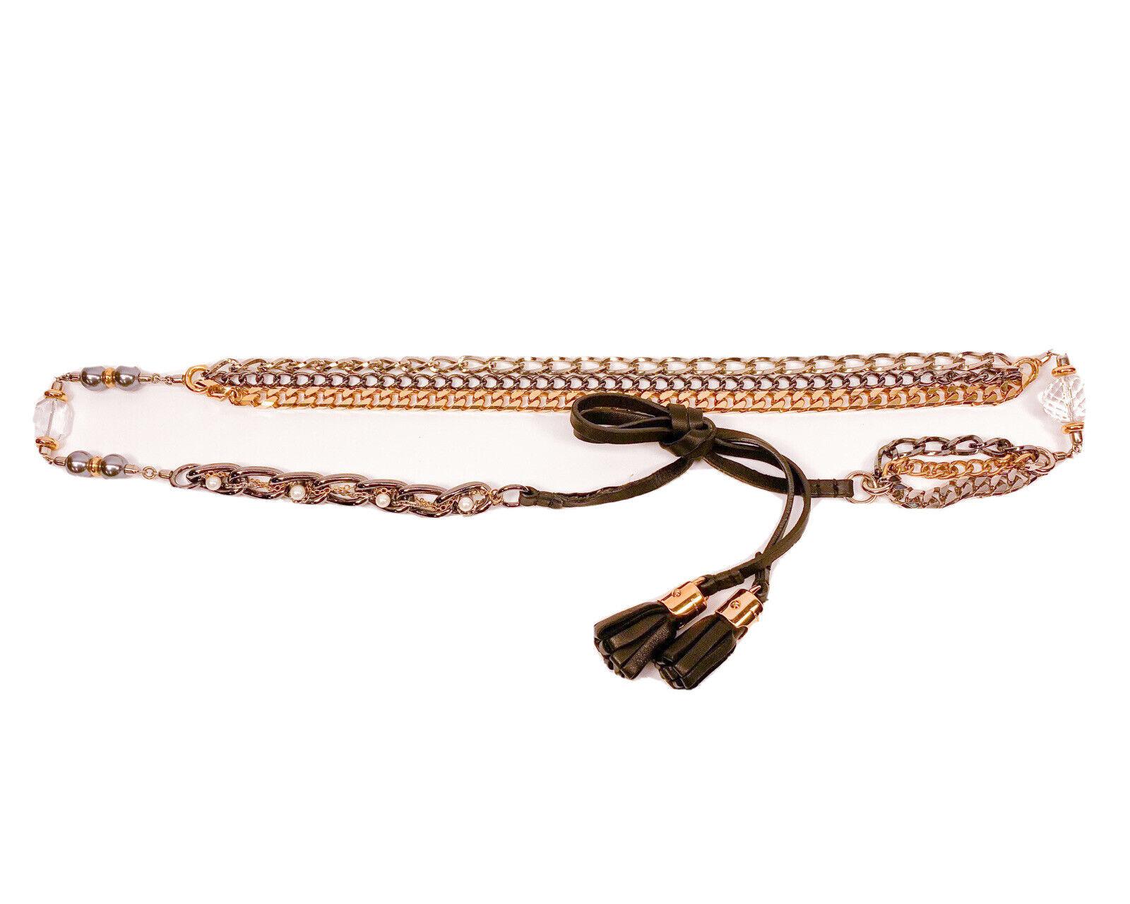 Dolce & Gabbana * pista Raro Bijoux Cadena Cristal Joyas so de cinturón de lazo