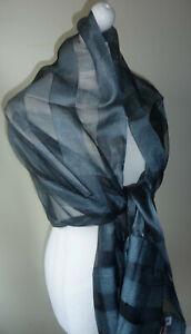 Gunmetal-Blue-Black-Silk-Blend-Wrap-Shawl-Large-Scarf-Check-Striped-Tassels-New