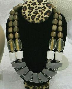 Vintage-UNIQUE-16-034-Necklace-Multicolor-AB-crystals-Wood-rhinestone-STATEMENT-acr