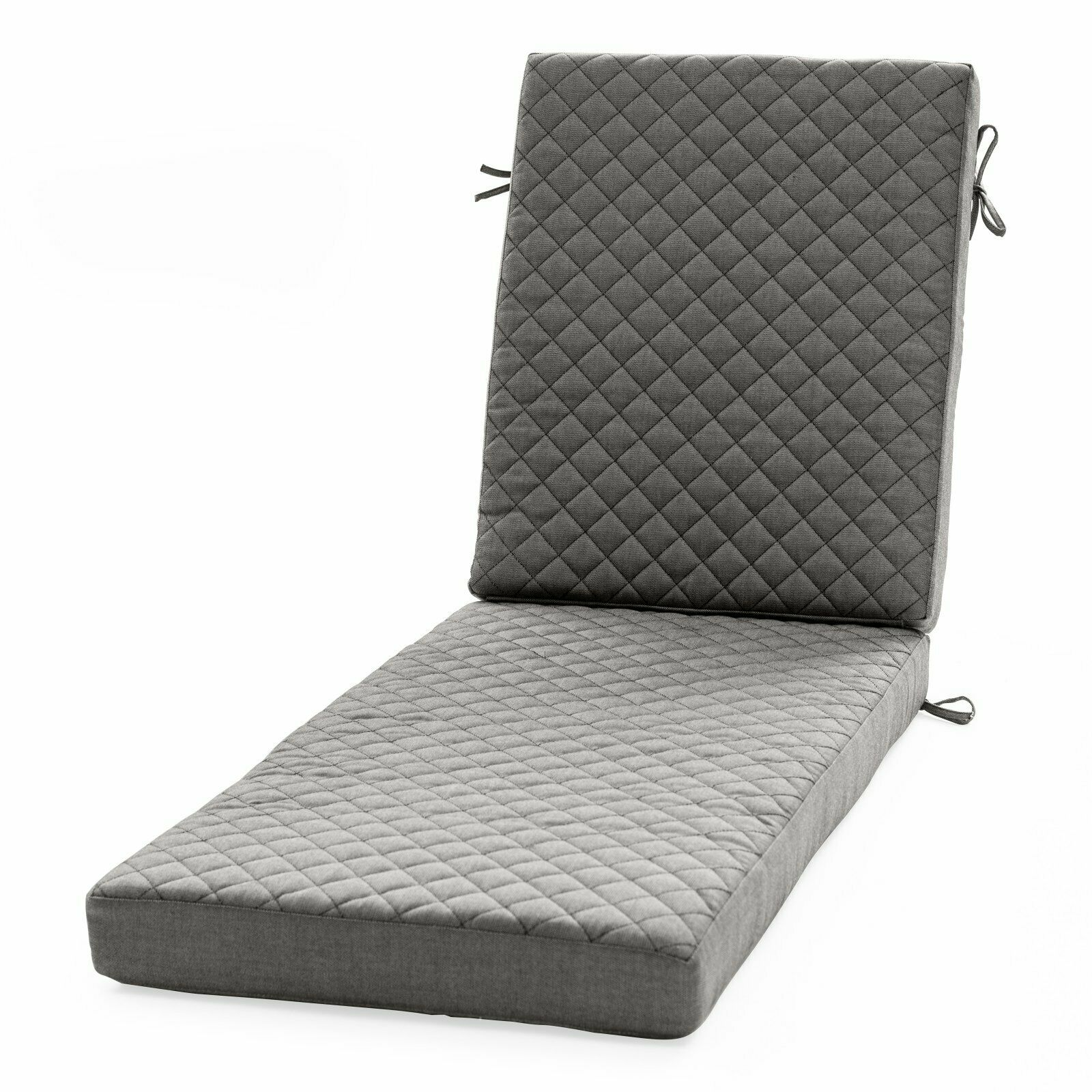 Charcoal Quilted Diamond Texture Outdoor Patio Chaise Lounge Cushion Pad Lounger
