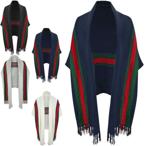 Womens Ladies Knit Warm Bolero Stripe Shawl Throw Cardigan Top Short Sleeve Size