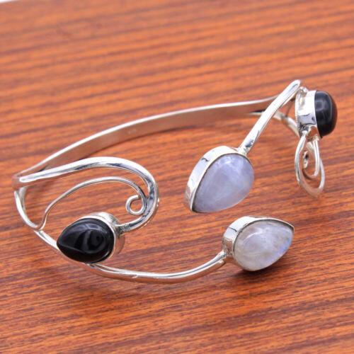 Moonstone Gemstone 925 Sterling Silver Jewelry Handmade Solid Unisex Bracelet